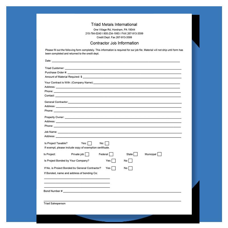 Triad Metals Form Company Information