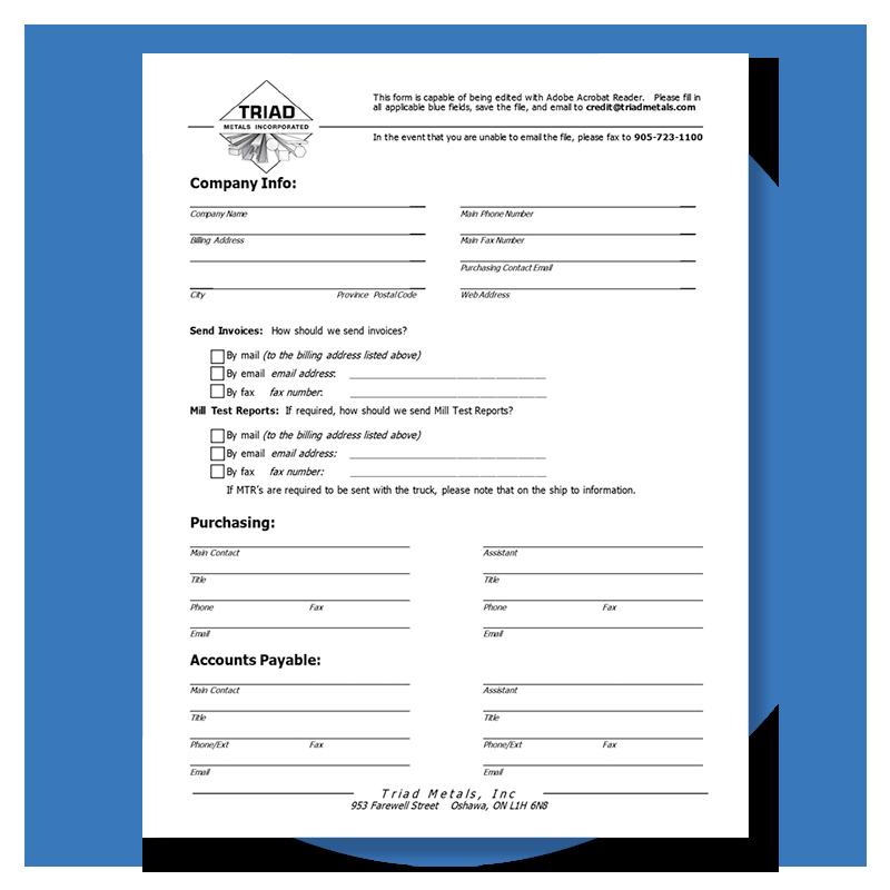 Triad Metals Form Credit Application